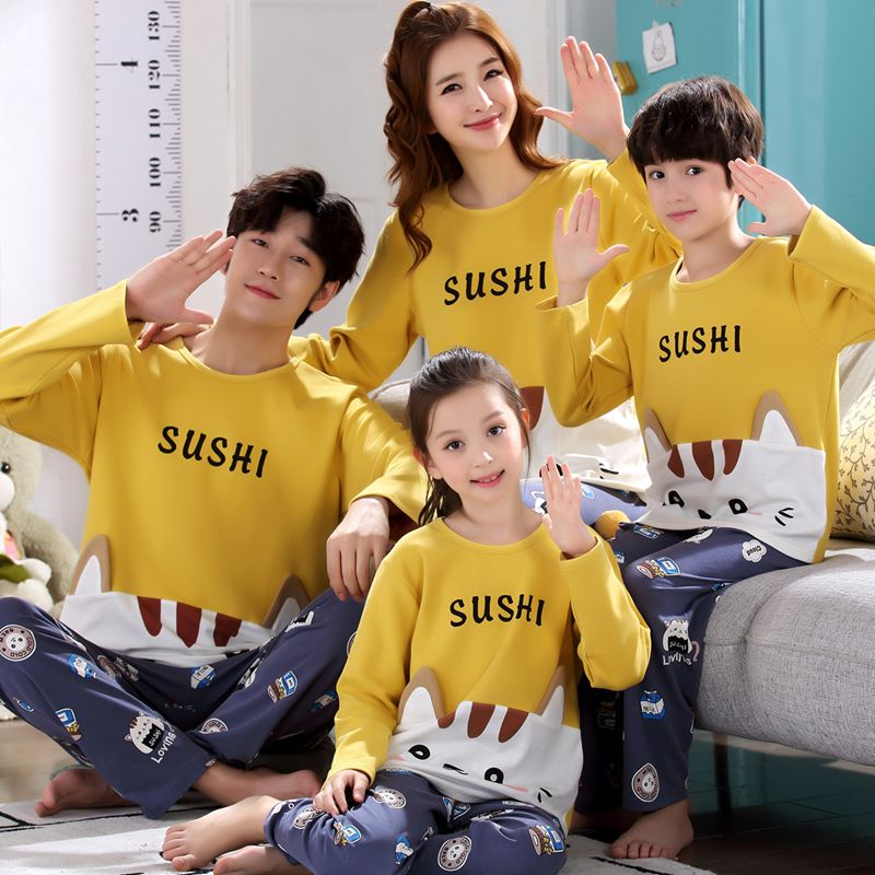 Parent child pajamas 6 fat girls 9 long sleeves 12 boys 15 years old teenagers autumn mens cotton womens mother child clothes