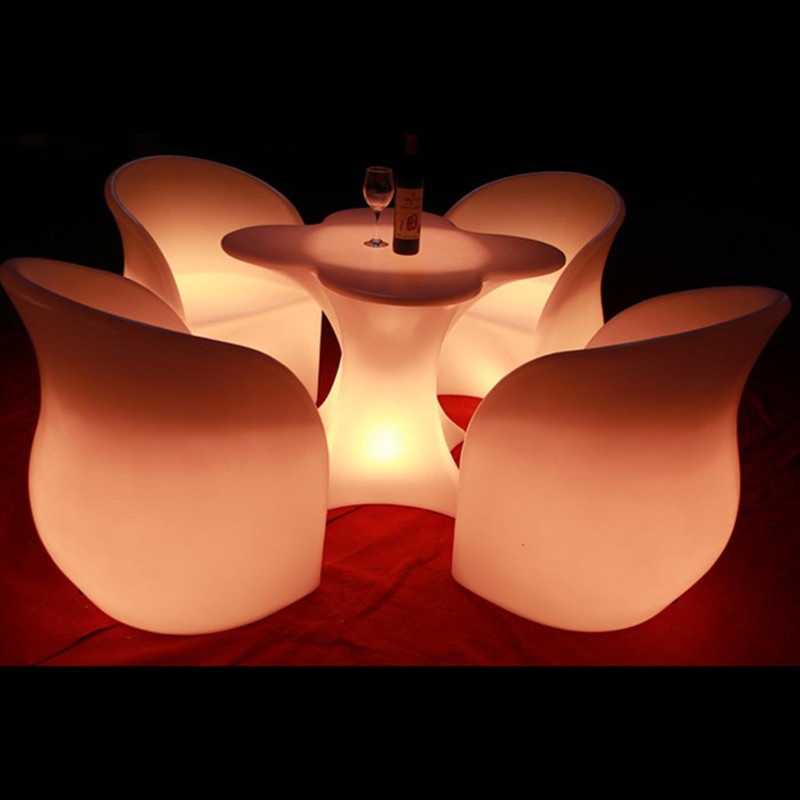 LED lighting tables and chairs creative tea table club bar tables and chairs combination colorful lighting furniture led fashion seats