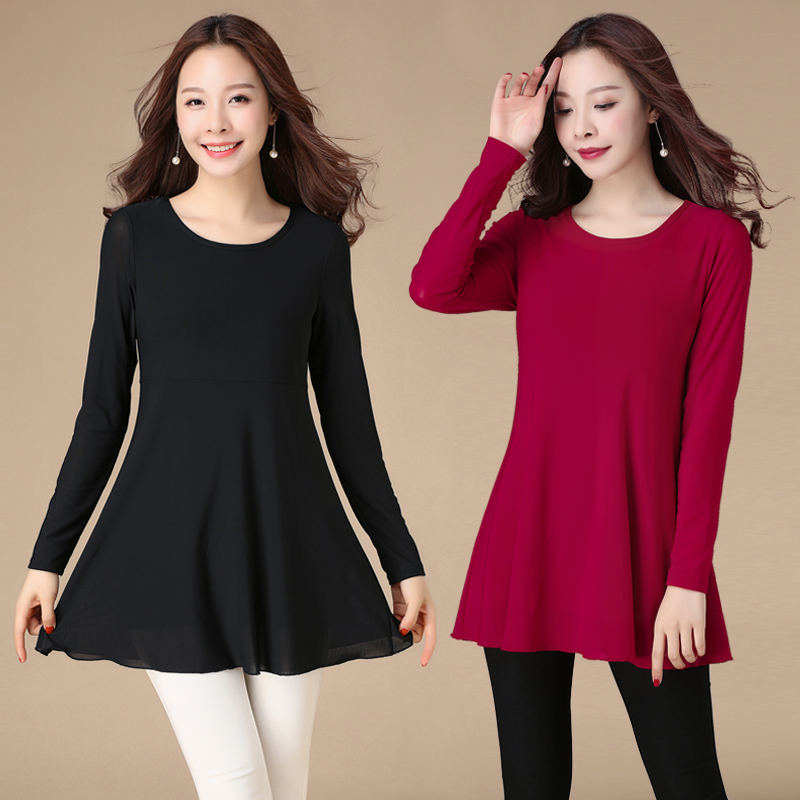 Middle aged Ma Jiafei plus size womens mesh blouse fat m outer elastic medium length T-shirt