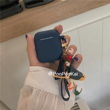 蓝色个性创意少女挂件airpods1苹果无线耳机套airpods2硅胶保护套