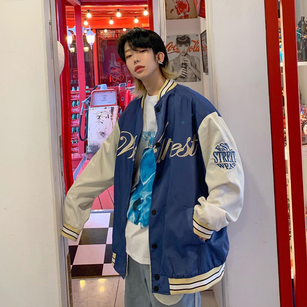 金俊 棒球服男潮牌春秋教练飞行夹克美式复古着上衣宽松刺绣外套图片