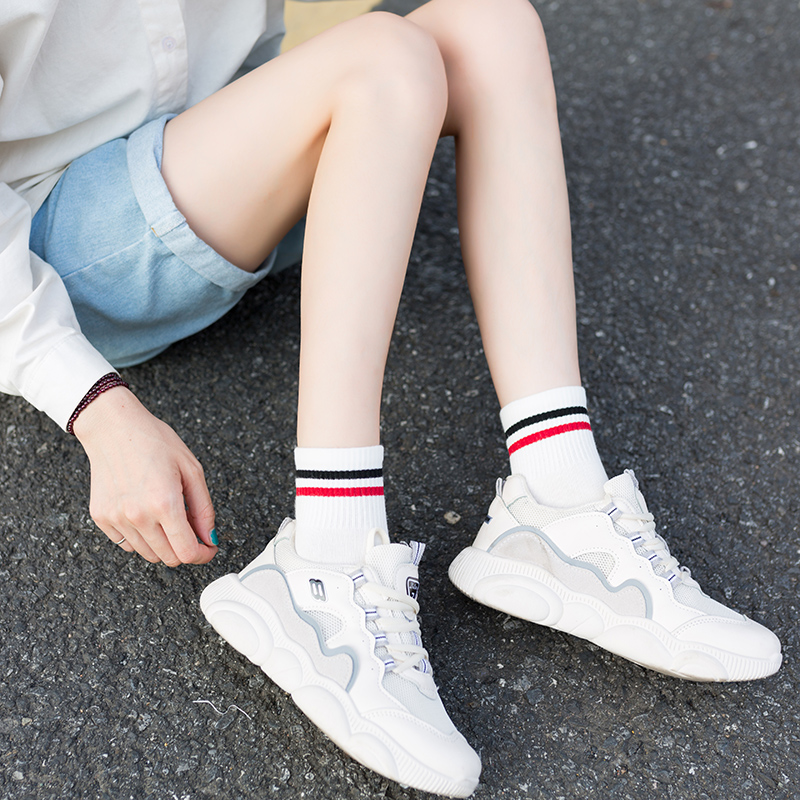 Socks childrens 3 pairs autumn and winter new Chinese style Korean pure cotton college style personality versatile sports leisure ins trend