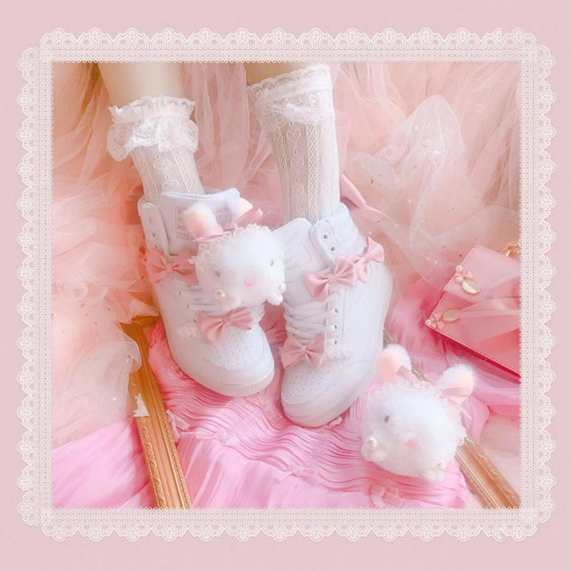 Little rabbit high top leisure shoes with muffin inside, womens shoes with magic tie and bow cute shoes spring, summer and autumn 2020