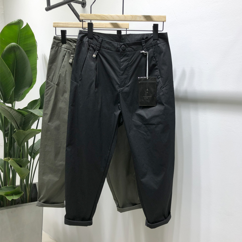 Solid color thin 9-point tapered casual pants mens new spring and summer Korean version trend versatile fashion Leggings