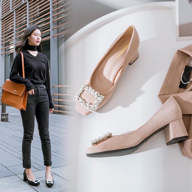 玛丽珍奶奶鞋女春韩版百搭粗跟秋季仙女晚晚鞋高跟小码313233单鞋