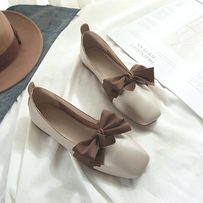 网红复古玛丽珍奶奶鞋女夏季平底蝴蝶结单鞋仙女豆豆鞋大码41一43
