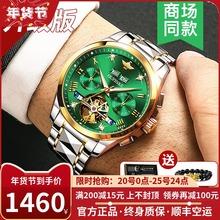 瑞士正品名表绿水鬼手表男士机械表防水镂空世界腕表十大品牌排行