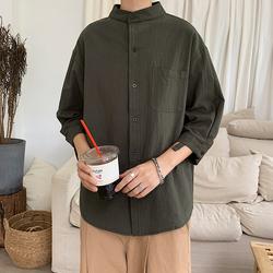 2020夏季新款立领棉麻纯色七分袖衬衫C118-P28.(三色 S-XXL)