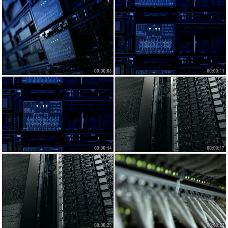 4K服务器大型数据库中心主机高科技数码云存储高清实拍视频素材-视频素材-sucai.tv