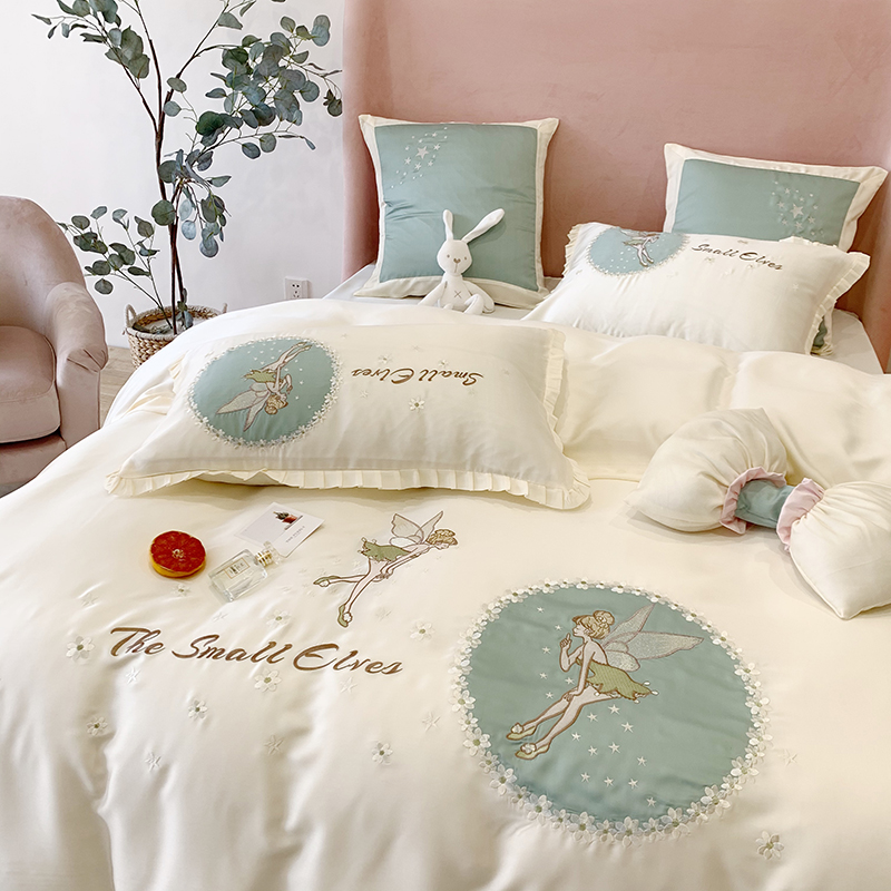 可爱少女心80支双面兰精天丝四件套被套丝滑凉感夏季1.8m床上用品