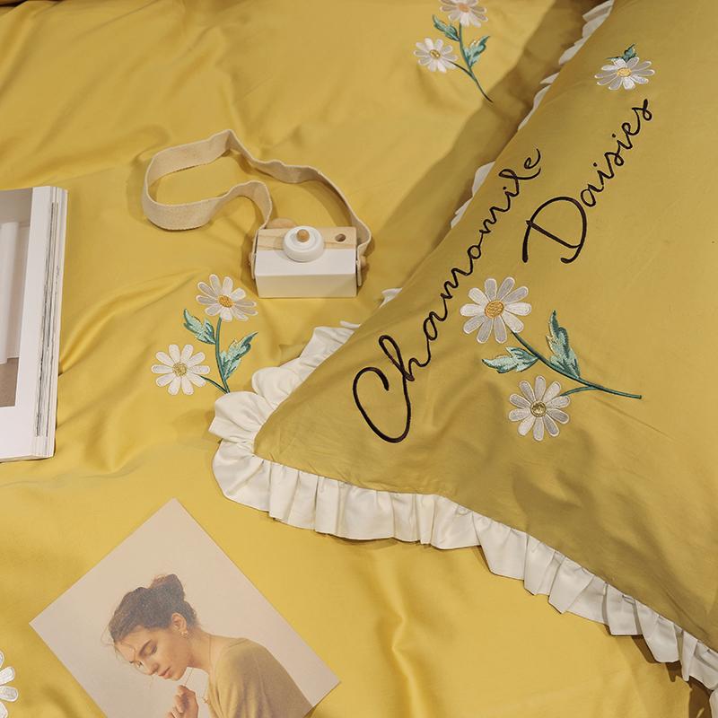 简约纯棉黄色60支贡缎长绒棉四件套全棉刺绣花雏菊被套床上用品