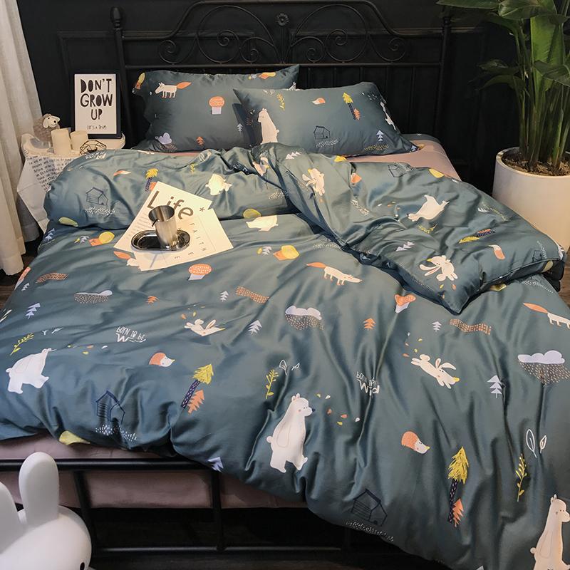 纯棉60S卡通小清新印花埃及长绒棉四件套 全棉贡缎床上用品1.8m
