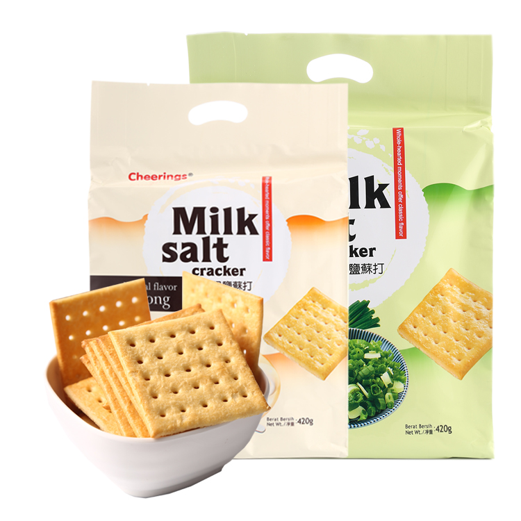 2 bags of cheerings extra strong milk salt, chives and soda biscuits imported from Malaysia 420g / bag