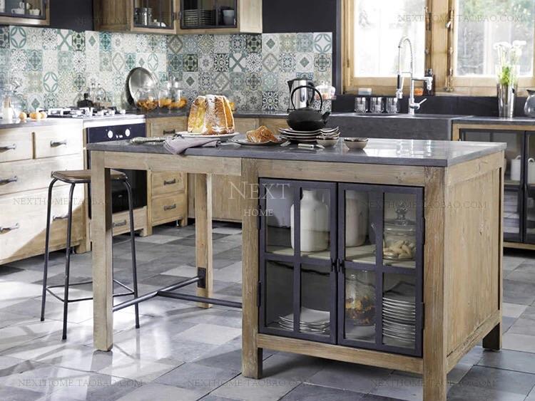 北欧实木大理石中岛台厨房柜餐边柜储物柜备餐台料理台厨房碗柜