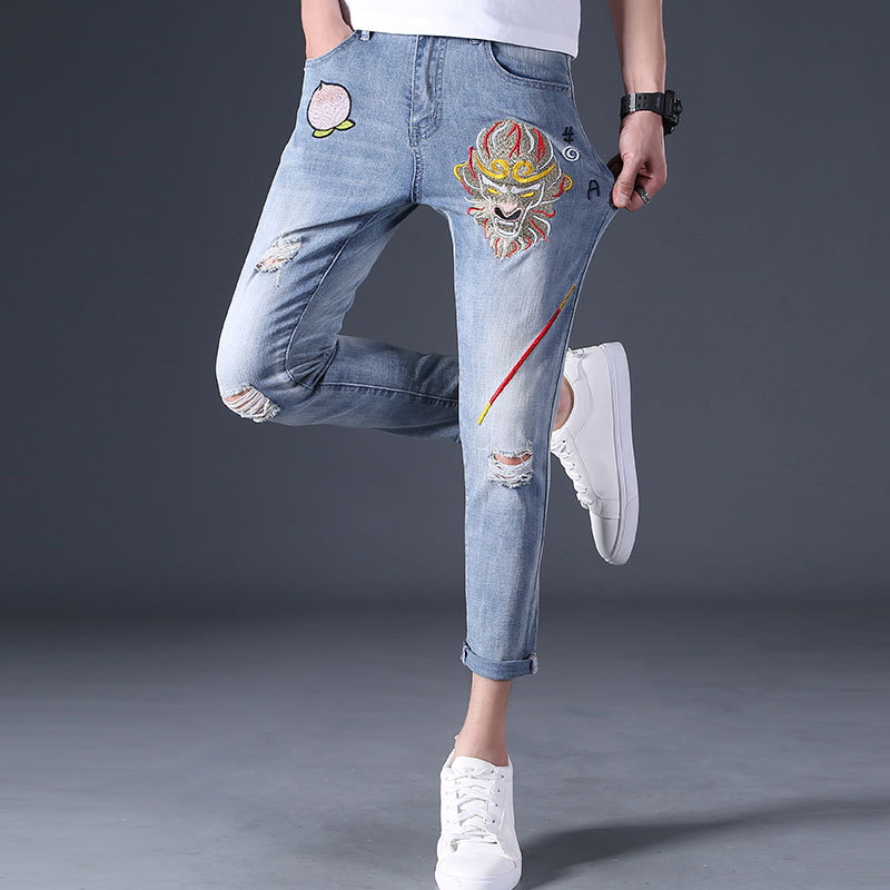 Chinese Zodiac monkey embroidered jeans male elastic youth characteristics national trend jeans nine point hole mens pants