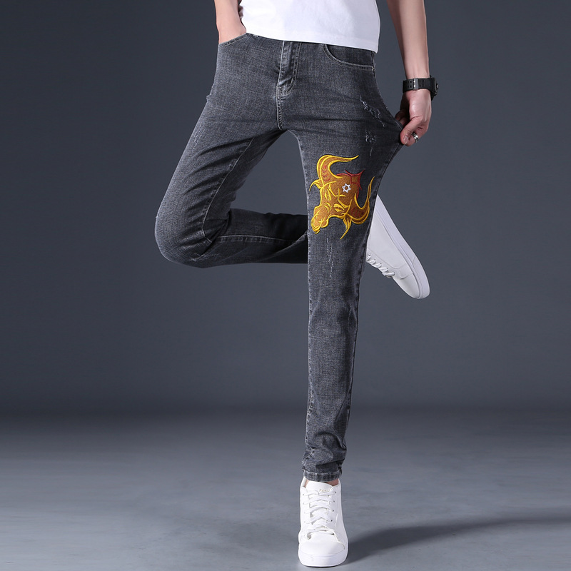 Chinese style embroidery jeans for boys and teenagers