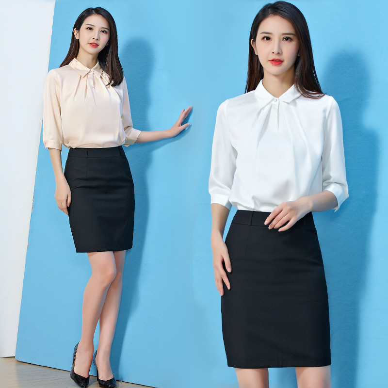 衬衫女2018新款女装夏季韩版宽松七分袖时尚白色职业套装雪纺衬衣