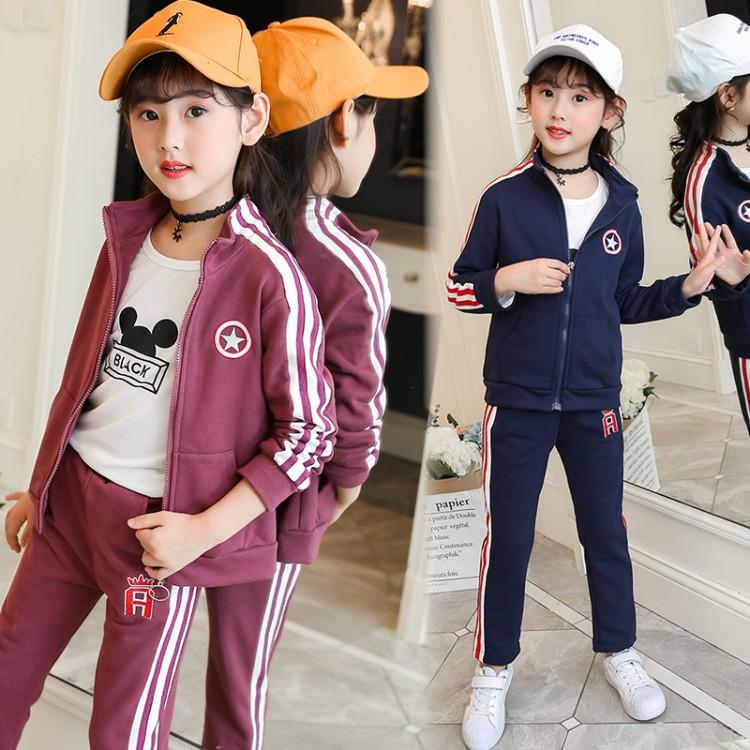 女童五角星春秋套装19年新款童装儿童运动卫衣两件套中大童洋气