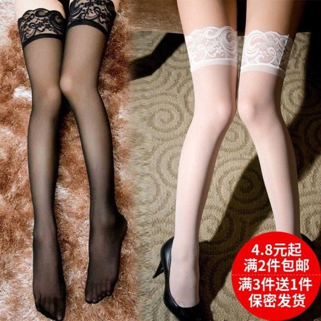 Half section silk stockings lace non slip long tube stockings knee high womens thighs spring half section ultra-thin lace transparent.