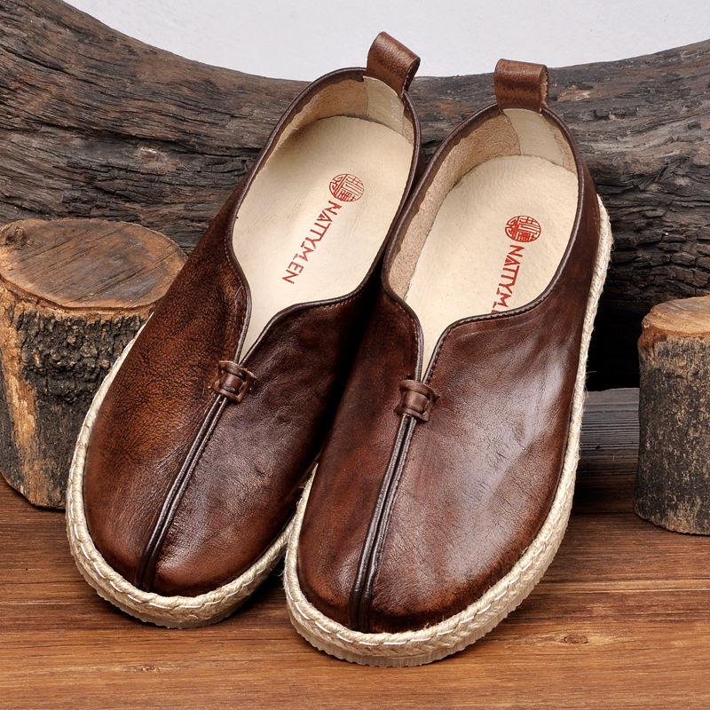 Chinese Style Mens shoes retro fishermans shoes one foot pedal dad Chinese old Beijing cloth shoes leather leisure lazy monk shoes