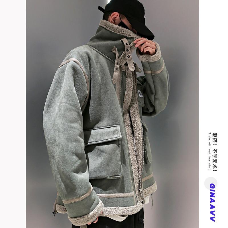 棉服男冬季情侣款麂皮绒棉衣潮牌宽松加绒加厚皮毛一体羊羔毛外套