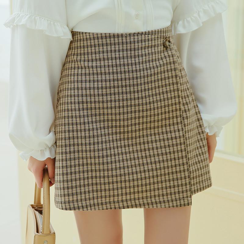 2020秋季新款高腰细格纹简约不规则半身裙短裙女X40030