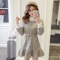2019新款秋冬装娇小个子145cm矮150搭配140女装显高xs高腰连衣裙