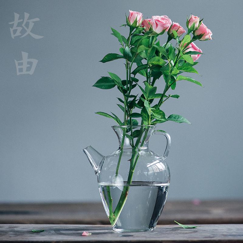 故由玻璃执手壶花瓶花插 凉水壶泡茶公道杯温酒壶多用简约茶具