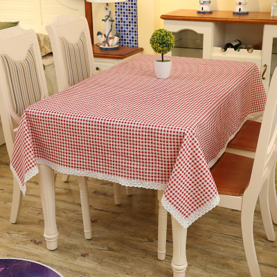 Kindergarten tablecloth custom small fresh cotton and linen small square coffee table round table square table tablecloth hotel restaurant lace