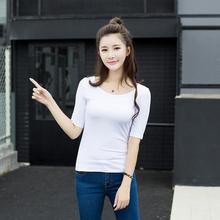 实拍2017年款韩国东大门女式中袖纯棉T恤修身显瘦纯色女装401