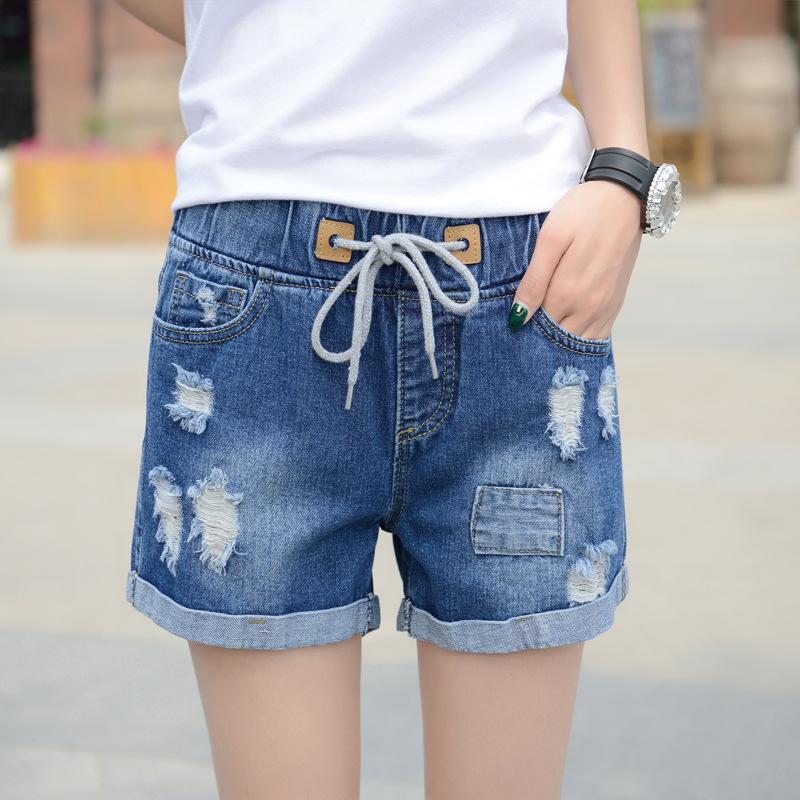 Denim shorts womens rubber band hole elastic waist strap casual comfortable thin hem stable supply