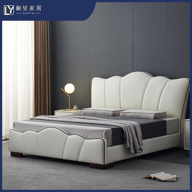 真皮のベッド北欧の主なベッドは高級で、軽量で豪華な木製の皮のベッドです。