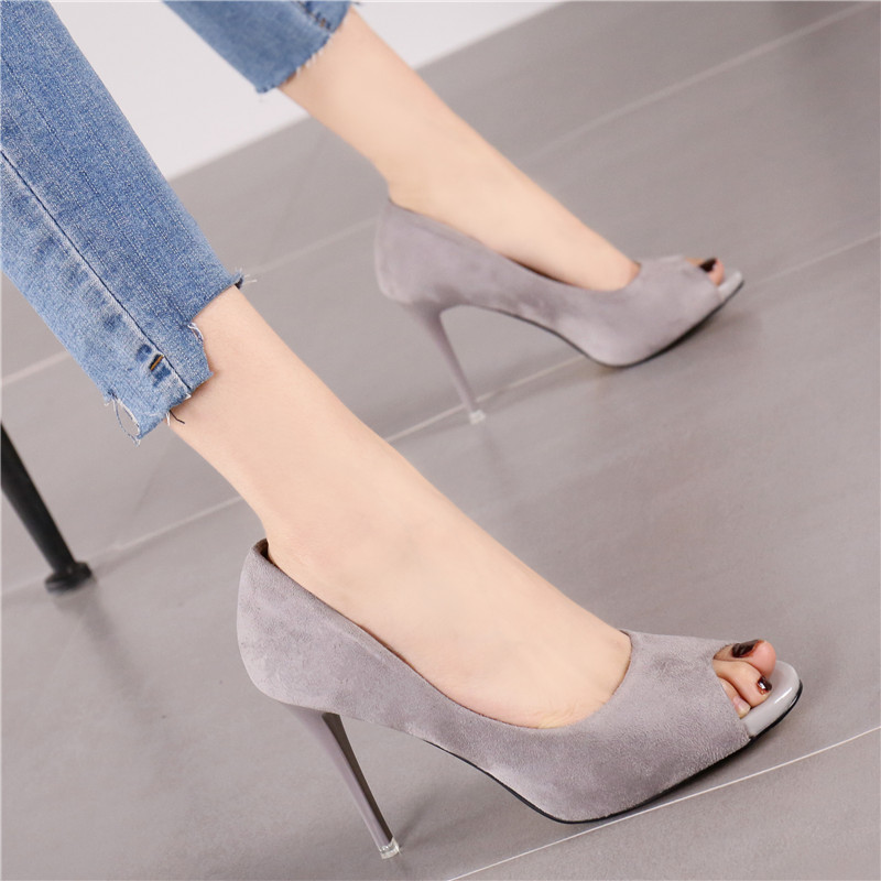 New pink lady fish mouth shallow mouth suede fine heel super high heel shoes in spring of 2019