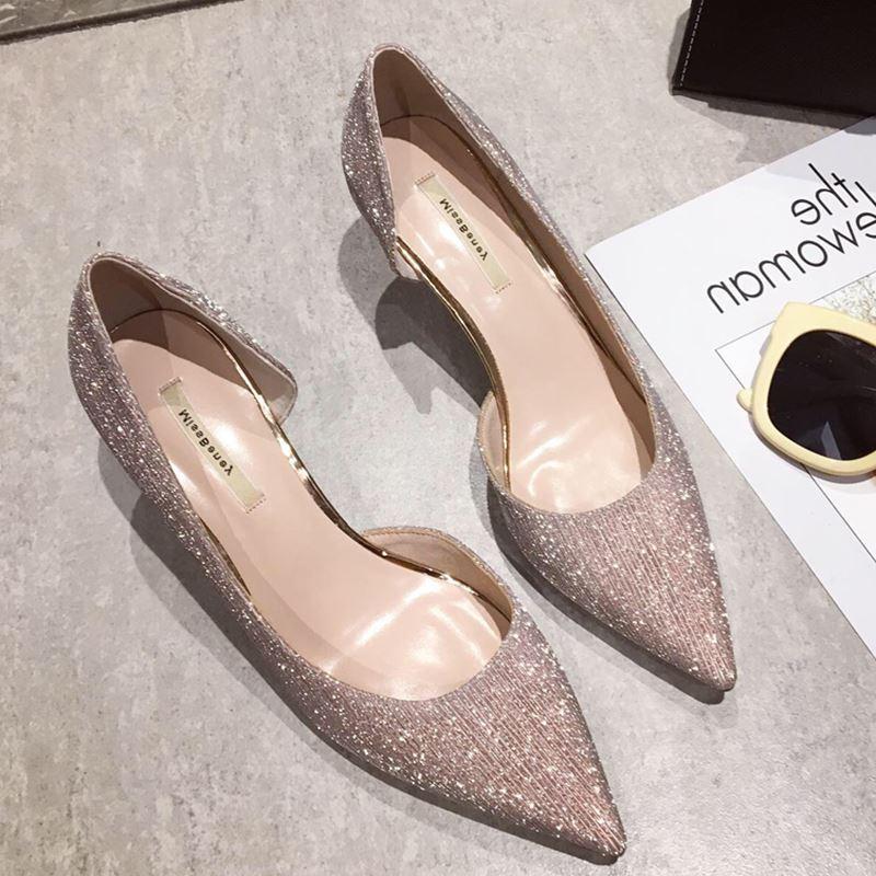 2020春季新款韩版亮片浅口尖头美鞋时尚高跟鞋女单鞋侧空细跟女鞋