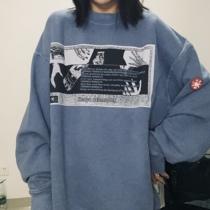 CAV EMPT C.E 日系潮牌蜡染做旧圆领CE长袖 秋冬水洗双面贴布卫衣