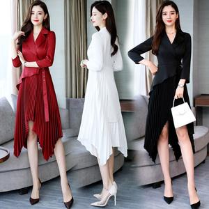 长袖时髦连衣裙2020春装新款洋气百褶裙不规则修身显瘦裙子女长裙