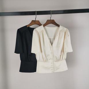 欧时力新款2020夏装纯色V领短袖衬衫排扣收腰雪纺衫女1RY2011470