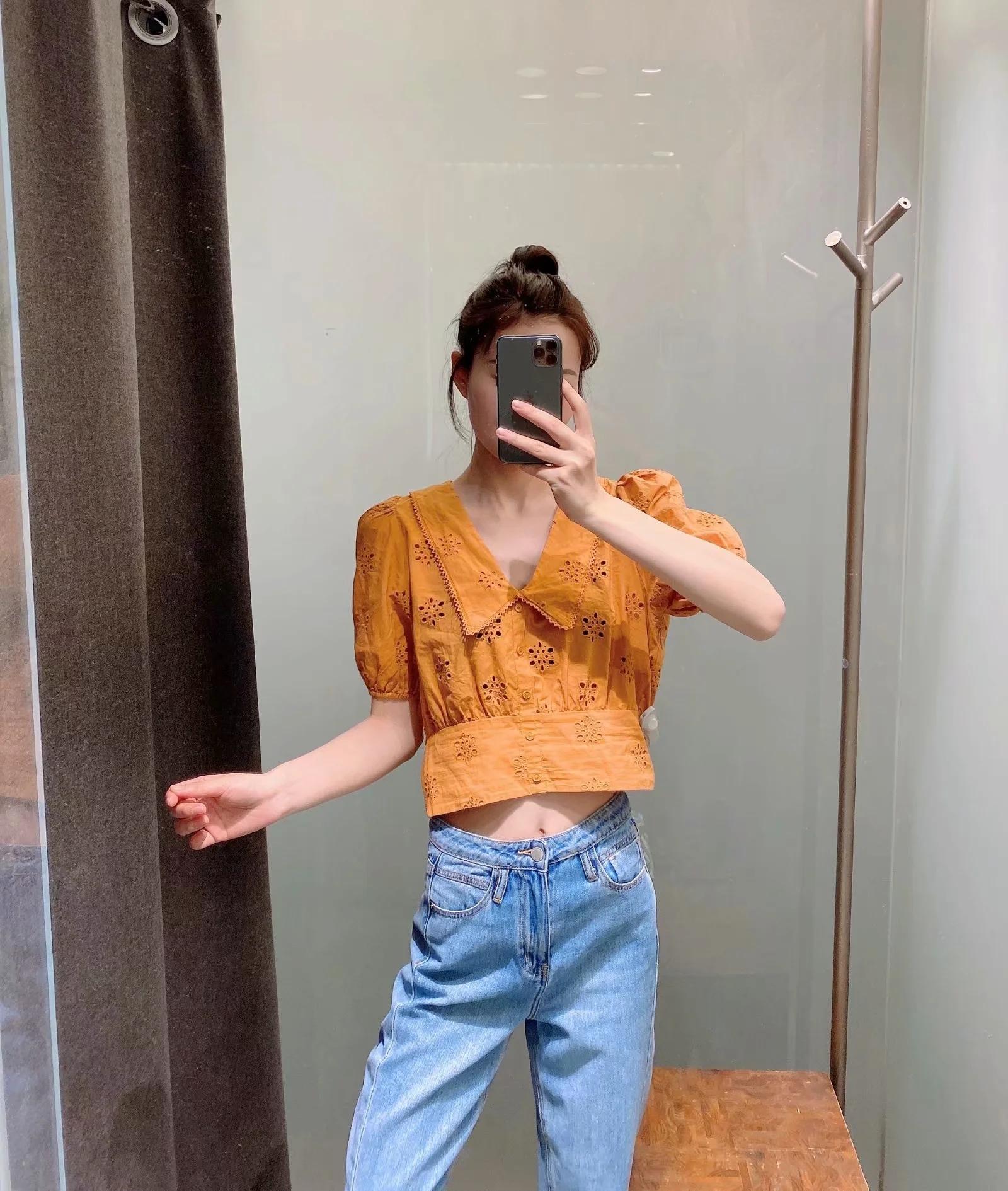 欧美2020夏季新款修身显瘦法式泡泡袖短款v领镂空衬衫女橘色上衣