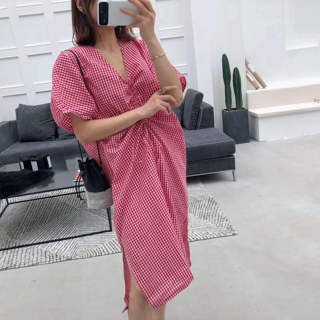 姗姗家夏季新款格子抽绳连衣裙2018韩版女夏装时尚宽松裙子