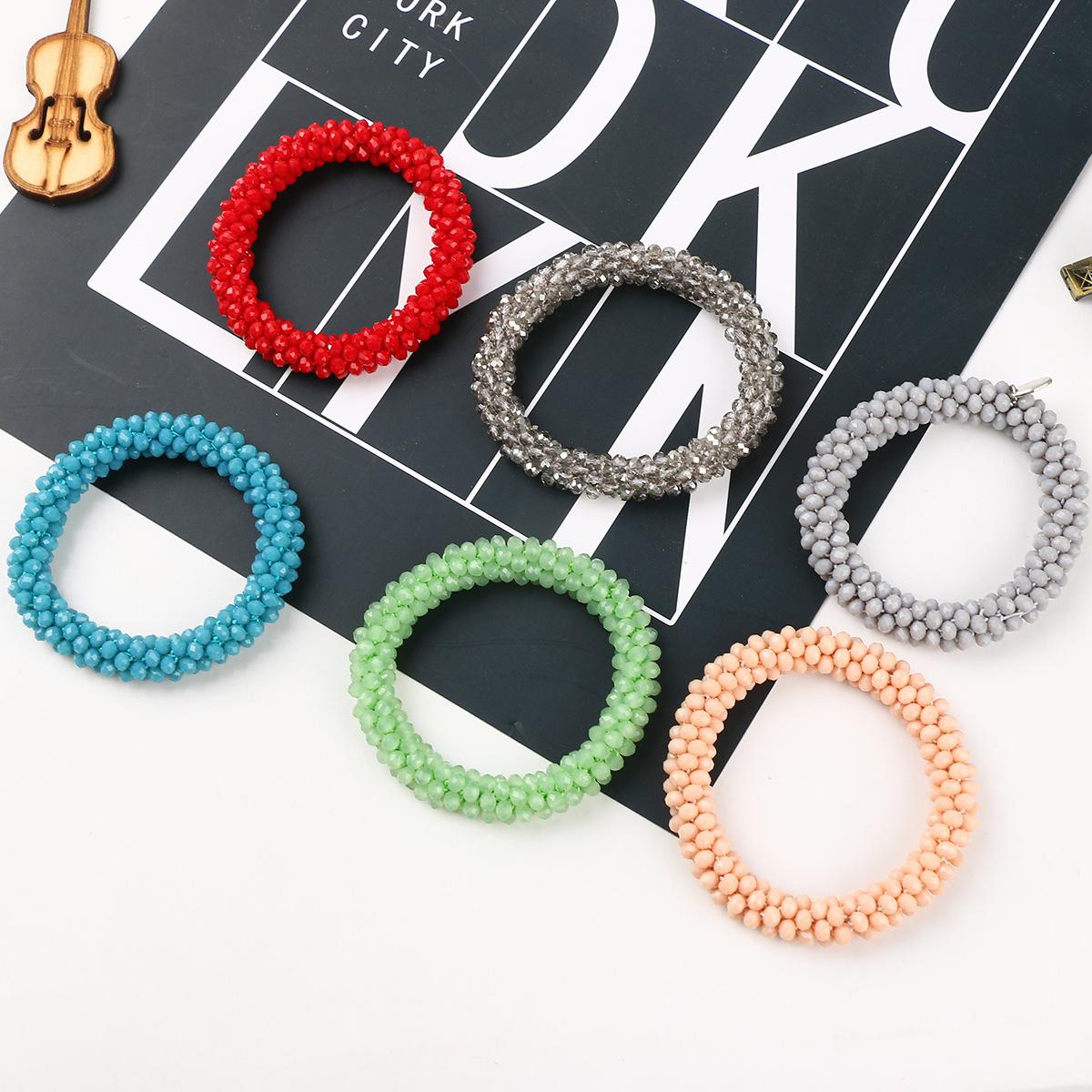 Popular artificial crystal bracelet, colorful beaded, crocheted, elastic thread Bracelet