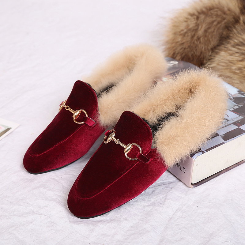 Autumn and winter 2020 new hairy slippers for womens wear Muller shoes half slippers for womens shoes Baotou lazy flat half slippers