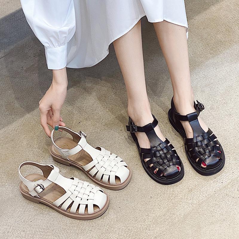 韩国复古真皮厚底凉鞋女夏2021新款包头罗马编织仙女风百搭ins潮