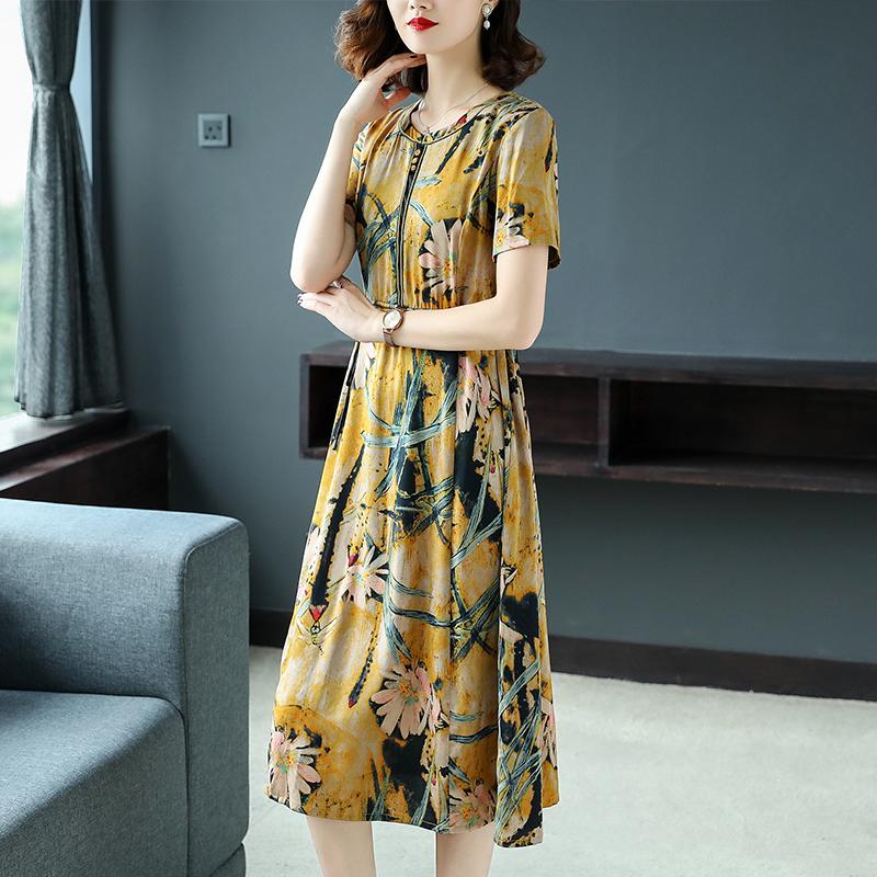 有赠品重磅真丝连衣裙女2019春夏季新款杭州桑蚕丝气质大牌裙子修身显瘦