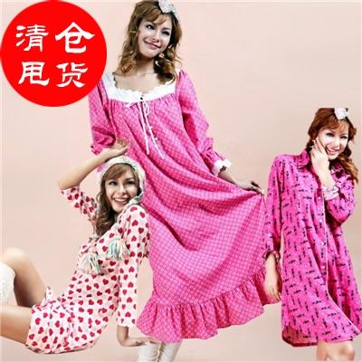 切れの商品の外国貿易の原単の寝スカートの女性の純綿のシャツのスカートのプリントのゆったりしている中に長いタイプの四季の家庭と住宅のワンピース