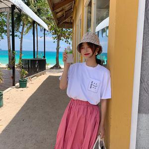 實拍口袋笑臉字母刺繡簡約百搭韓版學生夏季T恤