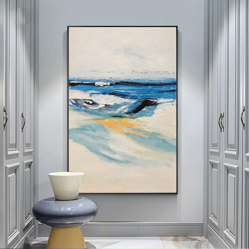 纯手绘油画北欧风格抽象大气壁画