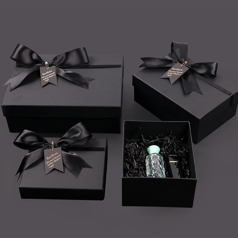 长方形化妆品包装盒香水礼品盒简约高档创意礼盒黑色礼物盒纸盒子