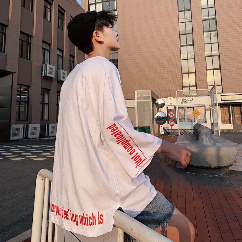 带质检 字母印花宽松打底衫五分袖男生T恤衫T145 P38(控55)