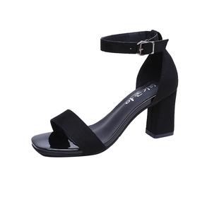 涼鞋女夏2020新款中跟粗跟黑色學生百搭露趾一字扣帶羅馬高跟鞋女
