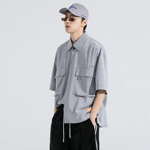 GRINCH1928-GAHA冰凉夏季丝薄韩版宽松条纹短袖衬衫男半袖衬衣潮